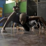 Haiti's Sephora Germain performs a dance piece during a rehearsal session in the Ayikodans dance studio in Port-au-Prince