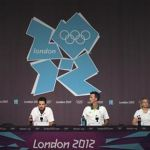 Australian Olympic swim team attend a news conference at the Media Press Centre in London 2012 Olympic Park in Stratford