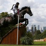 Germany's Ingrid Klimke competes in the Eventing Cross Country equestrian event at the London 2012 Olympic Games in Greenwich Park