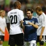 Argentina's Messi celebrates his goal against Germany during their friendly match in Frankfurt