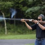 Handout photo of President Barack Obama shooting clay targets on the range at Camp David