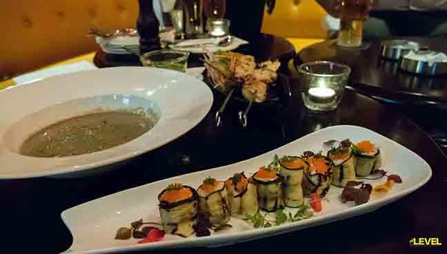 Smoked Salmon Sushi and Mushroom Soup