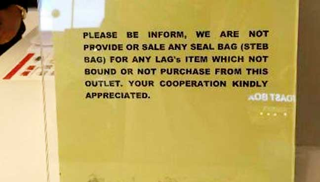 Encountered at a shop in KLIA. From Facebook.