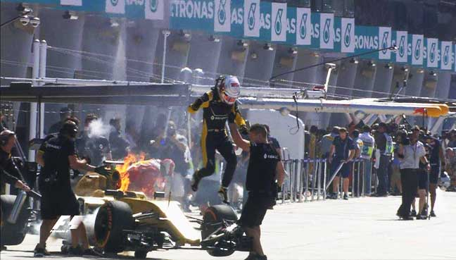 Magnussen leaps to safety in pit lane fire drama | Free Malaysia Today