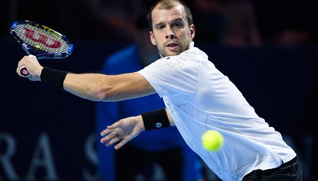 Muller stuns Dimitrov with Basel ace assault