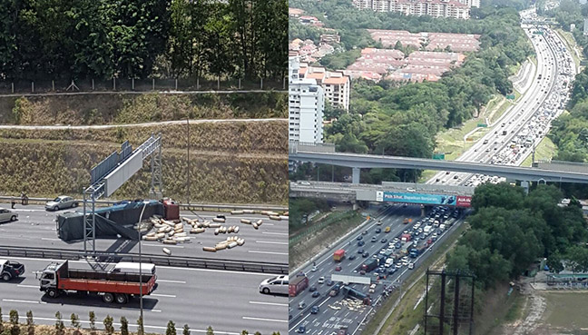 NKVE, overturned lorry, traffic jam