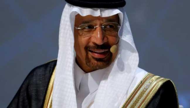 Saudi Arabia's Energy Minister Khalid al-Falih talks during the 23rd World Energy Congress in Istanbul, Turkey.