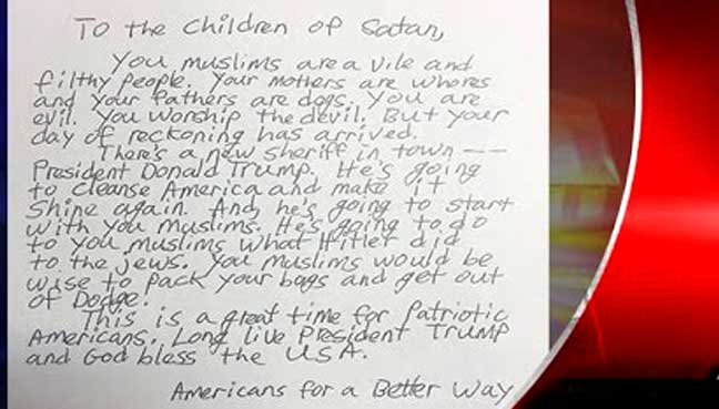 Indianapolis Muslim schools received hate-filled letter
