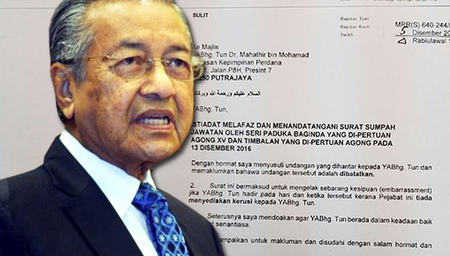 Invites for Dr M, Siti Hasmah to royal ceremony retracted