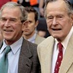 Former US Presidents George W Bush (left) and his father George HW Bush.