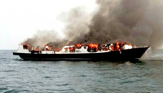 Five dead, around 100 rescued after fire on Indonesia tourist boat