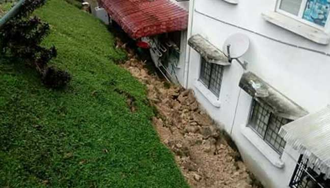 Apartment unit affected by landslide in Bukit Antarabangsa