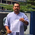Umno Youth member Syed Rosli Jamalullail at Ampang Jaya police headquarters, after lodging police reports claiming he threats from Khairy Jamaluddin's associates