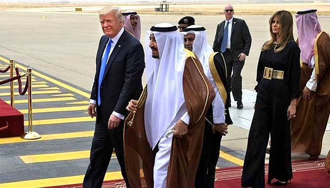 Donald Trump arrives in Saudi Arabia for first trip overseas as president