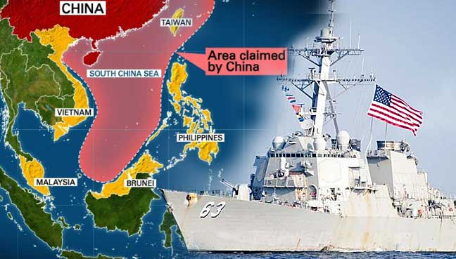 warship on Sunday sailed close to a disputed island in the South China ...