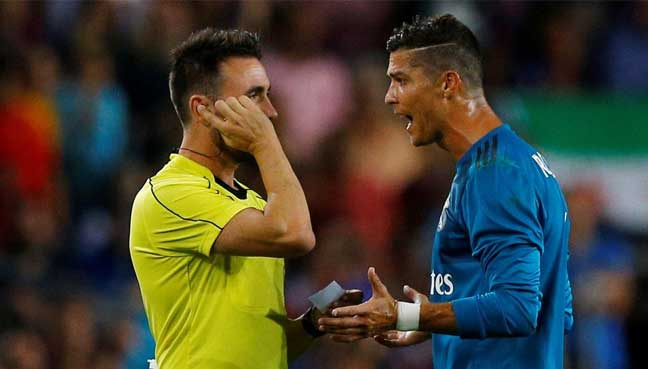 Ronaldo cops five-game ban for red card and ref push