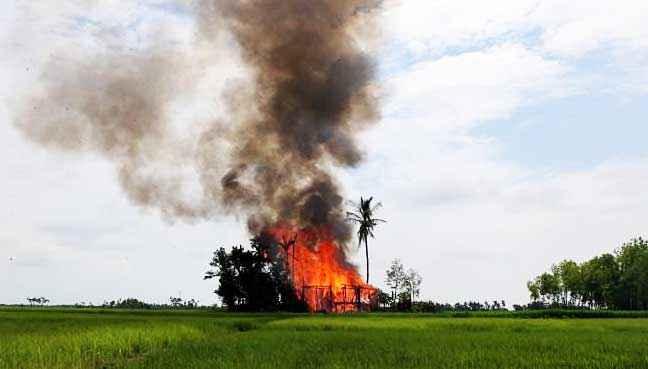 Fires destroy more villages in Myanmar's Rohingya region