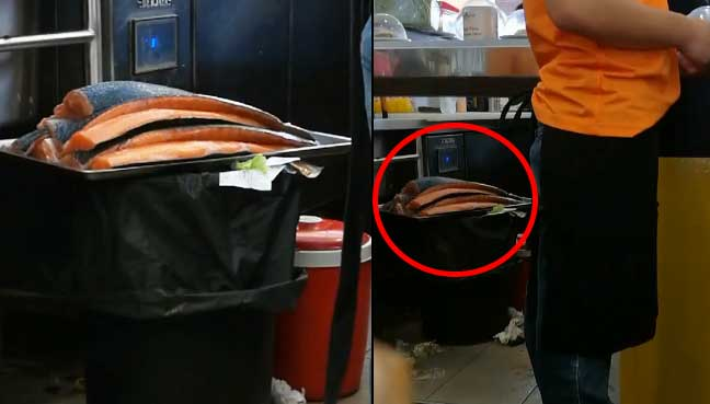 Sushi outlet closes branch after video of salmon left on garbage bin