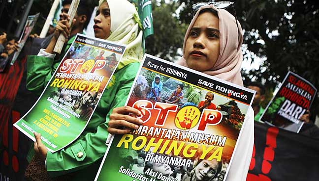 Thousands of Indonesian Muslims protest against Myanmar