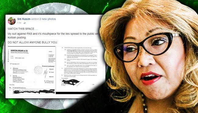 Siti Kasim takes PAS mouthpiece to court over 'korban' reports