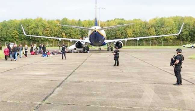 RAF jets go supersonic to escort Ryanair plane