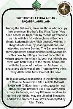 Statement of responsibility by Indonesian pro-IS channel, Daulah Islamiyyah Baqiyyah, supplied by TRAC.