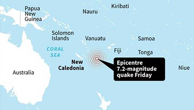 Quake  of magnitude 6.4 strikes near New Caledonia