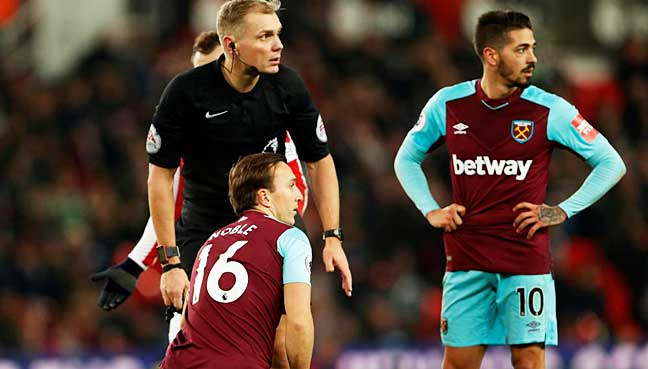 Manuel Lanzini charged for simulation towards Stoke