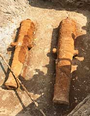 The two cannons, possibly 200 years old, which were discovered at Fort Cornwallis yesterday.