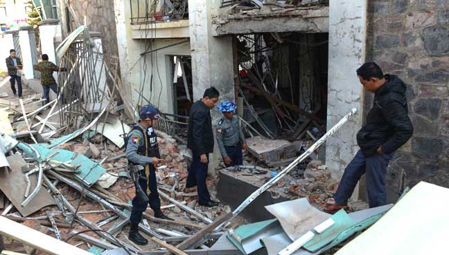 3 bombs hit Rakhine capital