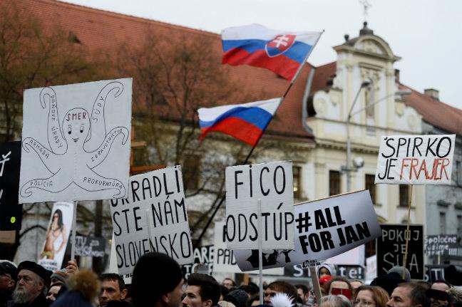 BRATISLAVA SLOVAKIA PROTEST ELECTIONS JAN KUCIAK REUTERS