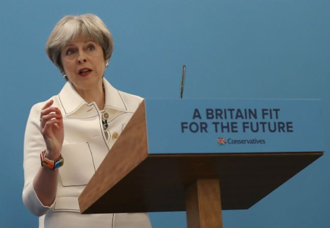 Britain's Prime Minister Theresa May speaks at the Conservative Party's Spring Forum in central London Britain