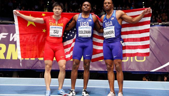 Coleman roars to world indoor 60 metres triumph