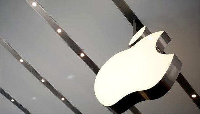 The Apple logo is pictured inside the newly opened Omotesando Apple store at a shopping district in Tokyo. (Reuters pic)