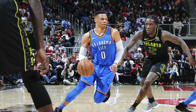 Russell Westbrook posts 100th career triple-double as Thunder rip Hawks