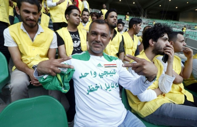 Approximately 60,000 fans watched the match between Iraq and Saudi Arabia at Basra Sports City. (AFP pic)