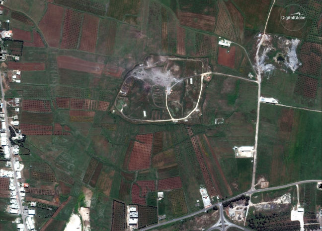A satellite image shows the Him Shinshar Storage site west of the city of Homs Syria