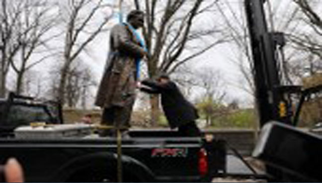 Controversial Central Park statue moved to Brooklyn cemetery