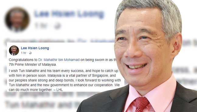 Lee Hsien Loong congratulates Mahathir Mohamad becoming prime minister