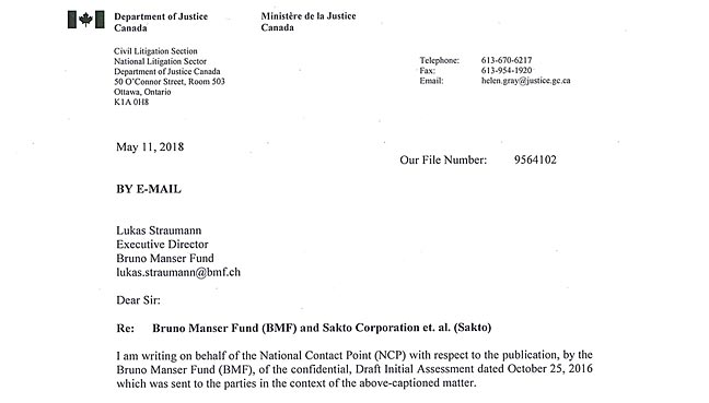 the cease and desist letter sent by the canadian government to bruno manser fund