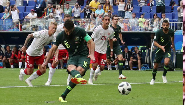 Mile Jedinak scored Australia's equalising goal against Denmark