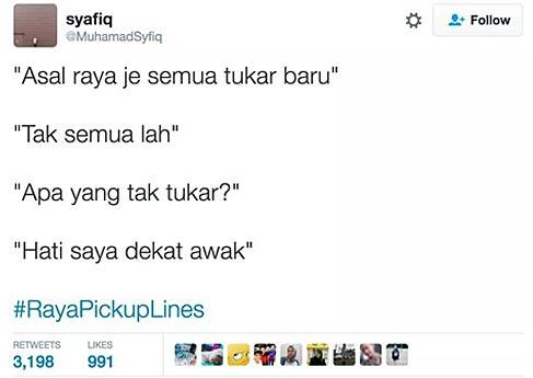 'Pick-up line' Raya yang kelakar tapi luah perasaan hati ...