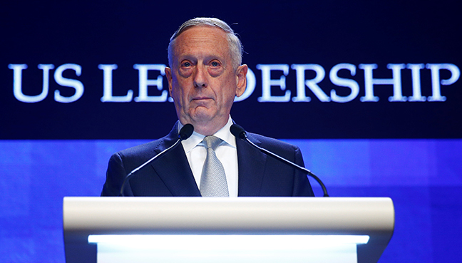 US Secretary of Defence Jim Mattis speaks at the IISS Shangri-la Dialogue in Singapore. (Reuters pic