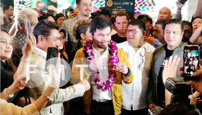 Pacquiao arrives in Malaysia ahead of title bout against Matthysse