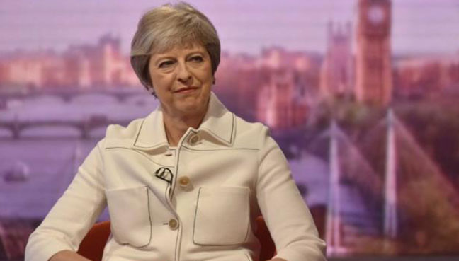 Britain's Prime Minister Theresa May appears on the BBC's Andrew Marr Show in London Britain