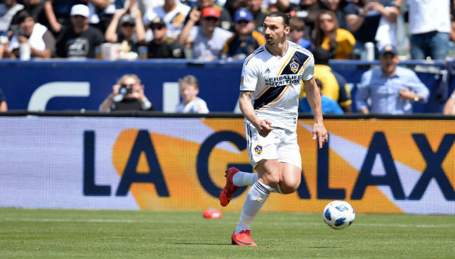 Los Angeles Galaxy forward Zlatan Ibrahimovic moves the ball against Los  Angeles FC during the second half at StubHub Centre. (Reuters pic) cd53a2695
