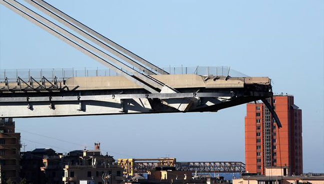 The collapsed Morandi Bridge is seen in the Italian port city of Genoa Italy