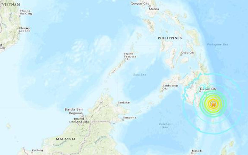 Strong undersea quake reported near Philippines, tsunami warning issued for South Pacific