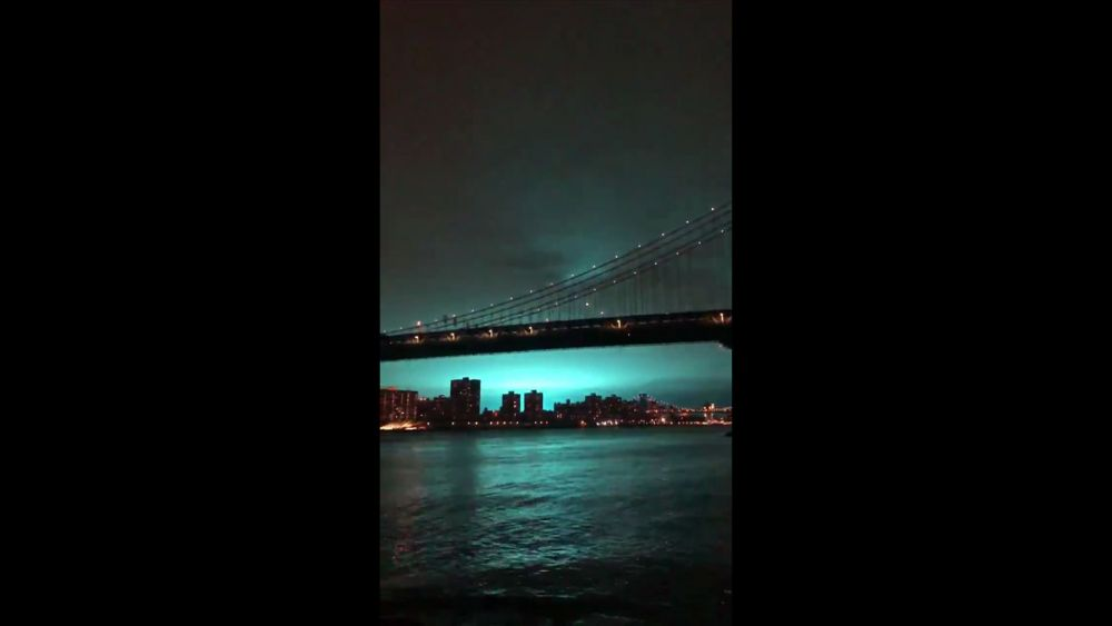 New York City skyline turns bright blue after transformer explosion