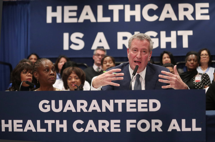 New York City Mayor Bill de Blasio speaks during a news conference at Lincoln Hospital in the Bronx borough of New York City